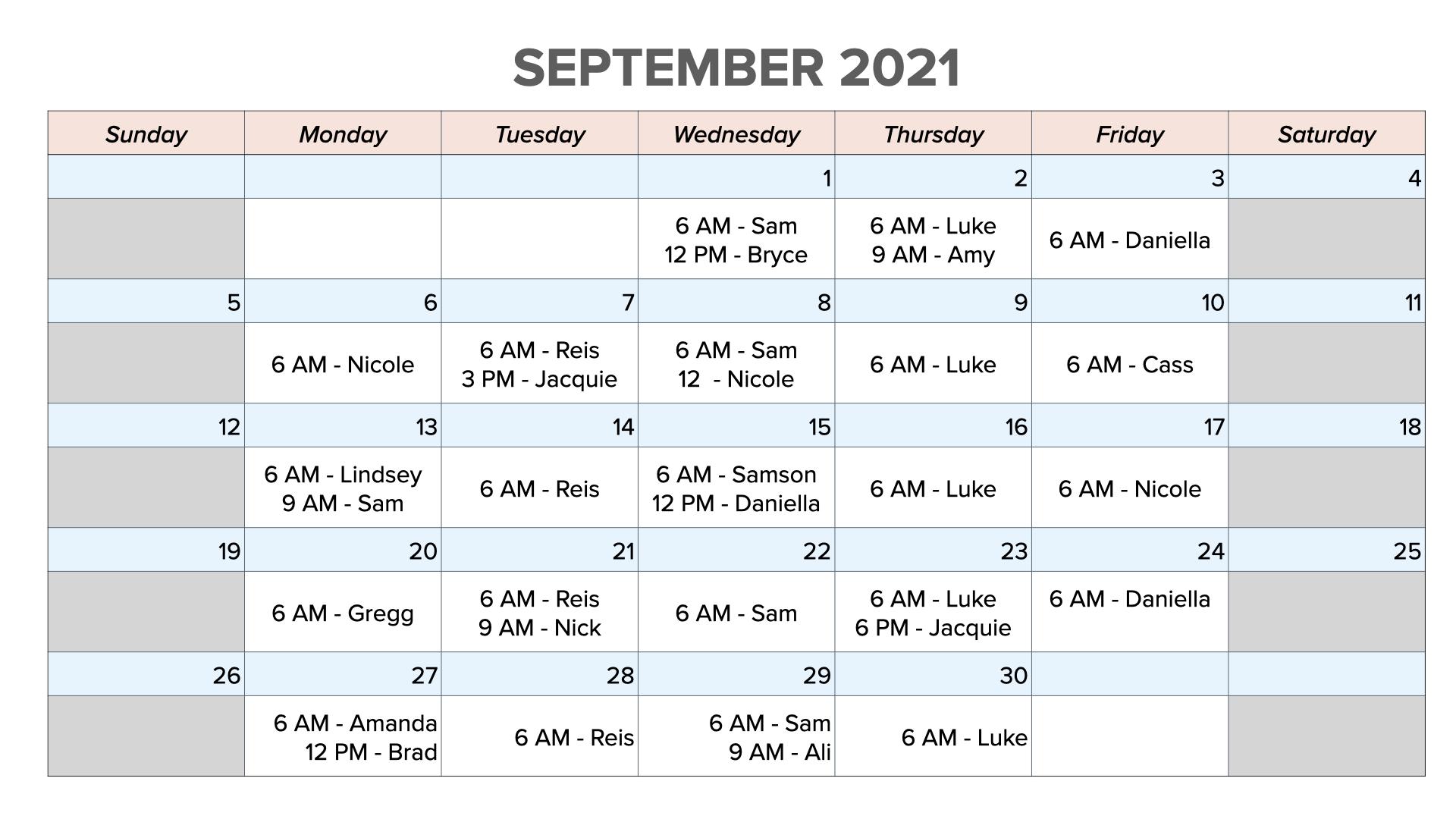 September 2021 schedule